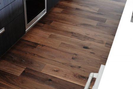 "7.5"" Wirebrushed Majestic Walnut w/ site finished True Black Staircase 3"