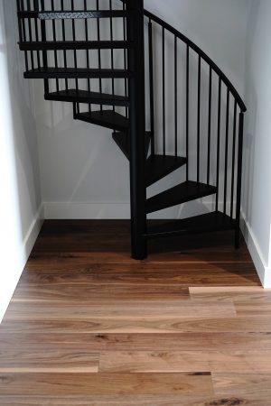"7.5"" Wirebrushed Majestic Walnut w/ site finished True Black Staircase 6"