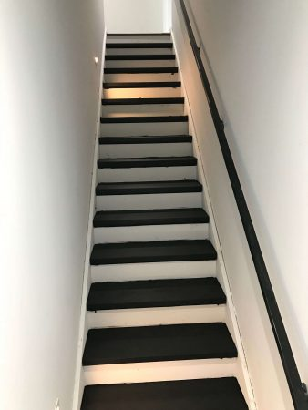 "7.5"" Wirebrushed Majestic Walnut w/ site finished True Black Staircase 5"