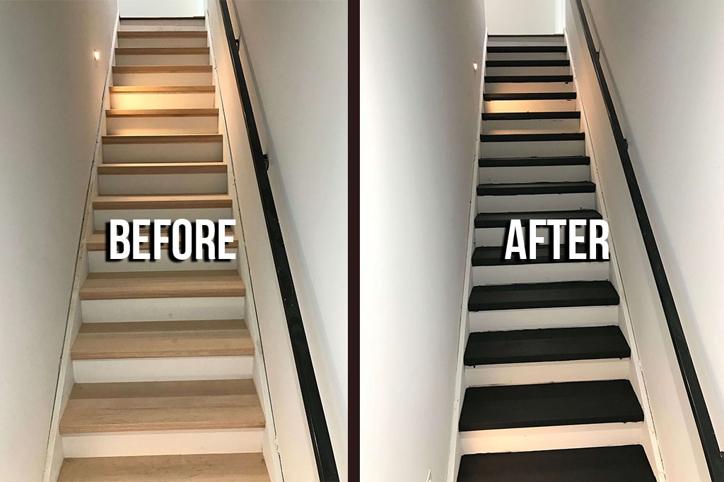 Staircase Refinsih Before After