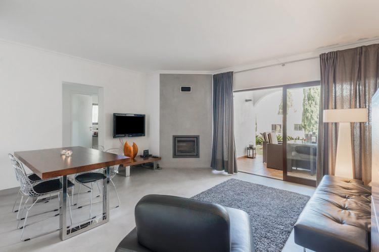 grey hardwood floor in a living room