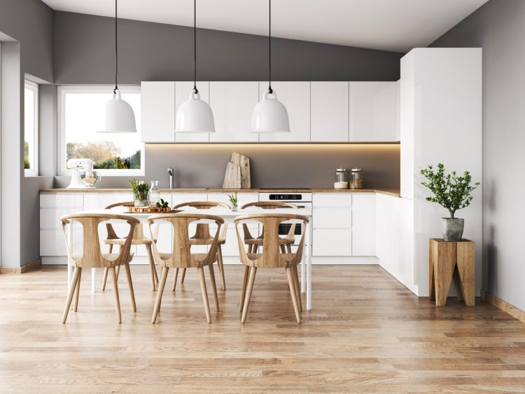 Interior of modern kitchen with vinyl flooring