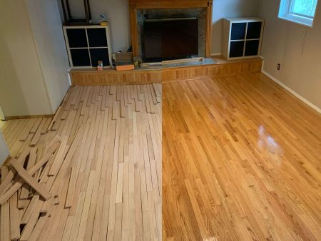 A floor before and after a refinishing project